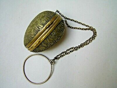 Old Victorian Chatelaine Brass Egg Thimble Holder & Child's 1899 Silver Thmble