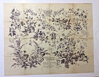 "Antique large Russian embroidery & dress paper pattern/chart 31""x25"" 1887 [p4]"