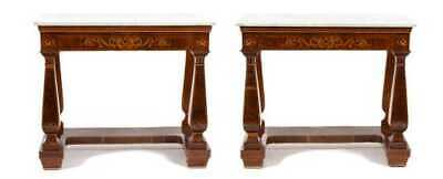 A Pair of Antique French Mahogany Marquetry Satinwood Marble Top Console Tables