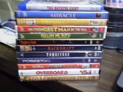 (12) Kurt Russell DVD Lot: Hateful 8  (4) Disney  Tombstone  Backdraft Overboard