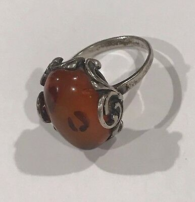Antique STERLING SILVER & OVAL BALTIC AMBER - 1980'S ERA Size 6.5