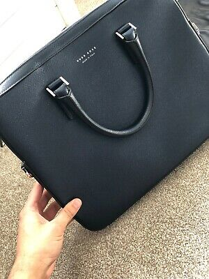 c54e63fb HUGO BOSS SAFFIANO Leather Document Briefcase Laptop Work Bag Made In Italy  £550