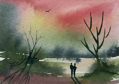 ACEO ATC original art painting by Bill Lupton - Romance Under a Red Sky