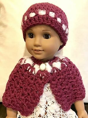 """New 18 inch Doll Hat and Cape fits 18"""" American Girl Doll Clothes Handmade"""