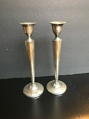 Mfh Fred Hirsch Sterling Silver Candlesticks Art Deco Marked  1920-1945 Vintage