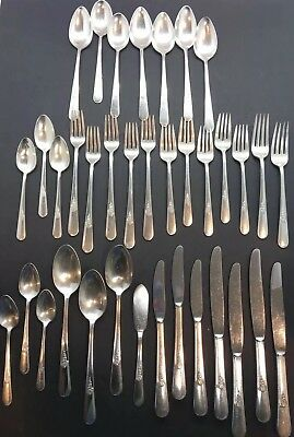 Holmes Edwards Inlaid Silver Flatware Lot 36 Spoons Forks Knives