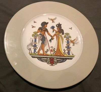 Antique Egypt Egyptian Plate Dish Hand  Porcelain Man Woman 12.5""