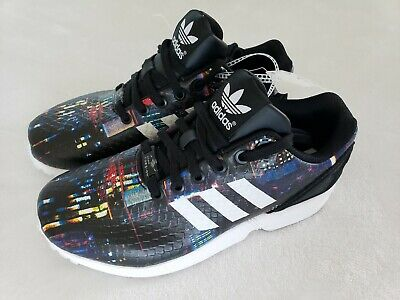reputable site fd9a4 6ff42 NWT NEW ADIDAS ZX Flux Snake City torsion black print sneaker shoe womens  Size 7
