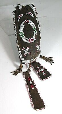 1890s NATIVE AMERICAN APACHE INDIAN BEAD DECORATED POUCH DRAWSTRING BAG AND DROP