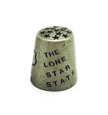 Etched Texas Souvenir Pewter Thimble With Out Line Of The State And A Star.