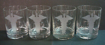 Dentist - Etched Cartouche - 14oz Old Fashioned Glasses - Set of 4 - Vintage