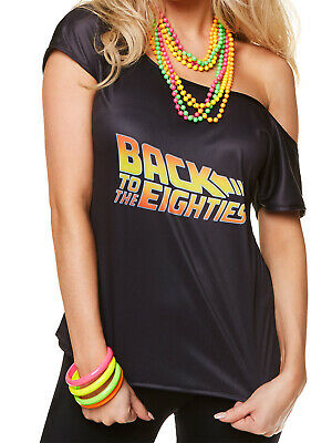 Ladies Back To The 80s T-Shirt Adults Retro Disco Diva Fancy Dress Accessory