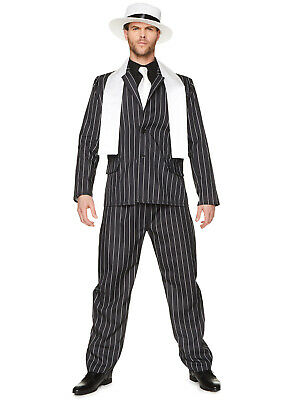 Mens Gangster Boss Costume Adults 1920s Mafia Pinstripe Fancy Dress Stag Outfit