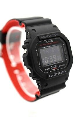 Casio G Shock Dw5600hr Digital Square Black Case Black Red Resin