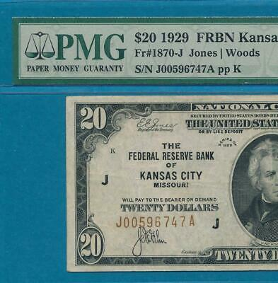 $20.1929 Kansas City  Brown Seal Federal Reserve Bank Note  Pmg Vf30