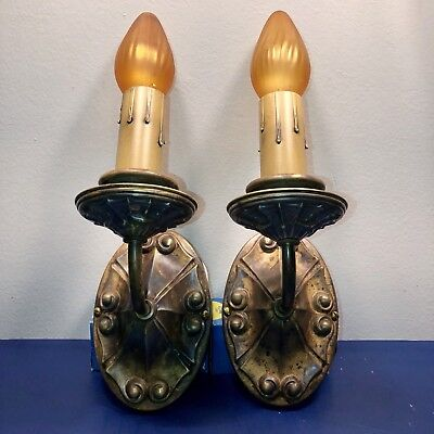 Pair of antique art-Deco brass sconces with awesome patina Wired Pair 29D