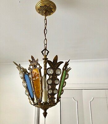 Vintage Solid Brass Pendant With  Stained Glass And Crystals From The Sixties