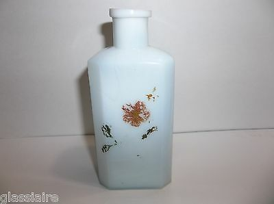 Antique Opaque OPALESCENT BARBER Bottle Perfume SCENT Decanter Hand Painted