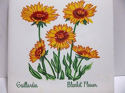 Vintage MESQUAKE SETTLEMENT Decorative Tile Gaillardia BLANKET FLOWER 6""