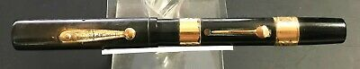 Old Waterman's Ideal New York Clip Cap Black Gold Filled Fountain Pen