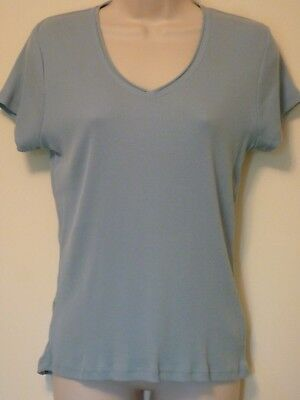 377eb6bc New Faded Glory womens Small blue tee shirt v-neck knit top short sleeve  blouse