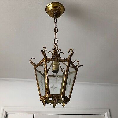 Vintage  Solid Brass Patinated  Lantern With 6 Glass Panels From The Sixties