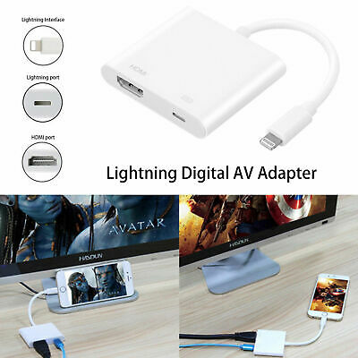 Lightning Vers HDMI Digital AV TV Cable Adaptateur pour iPad Air iPhone 6 7 8 X
