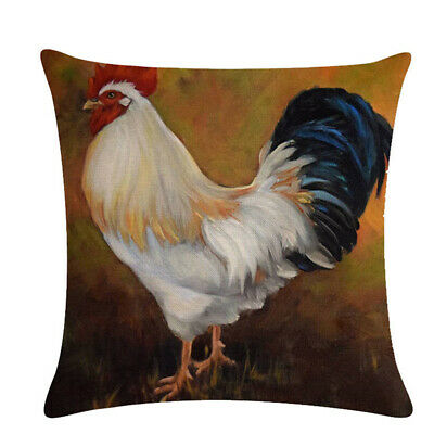 Throw Pillow Linen Sofa Cushion Rooster Pig Sheep Series Case Home Decor Jian