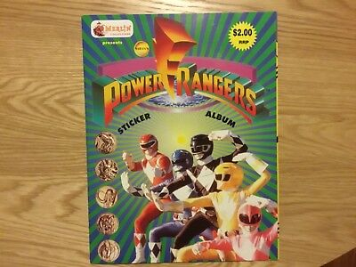 POWER RANGERS STICKER ALBUM COMPLETE WITH ALL STICKERS (Inserted) By Merlin