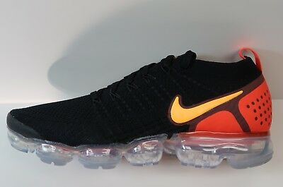 Nike Air Vapormax Flyknit 2.0 Black Laser Orange Running Shoes 942842-005 NEW