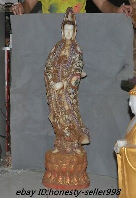 """39""""Chinese Temple Old Jade Painted Carved Guanyin Kwan-yin Quanyin Buddha Statue"""