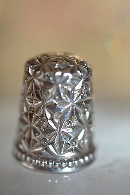 Antique MKD Ketchum & McDougall Sterling Silver Thimble Floral Design