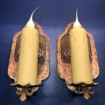 Pair larger scale red brass sconces acorn and oak leafs fresh fabric backing 54F