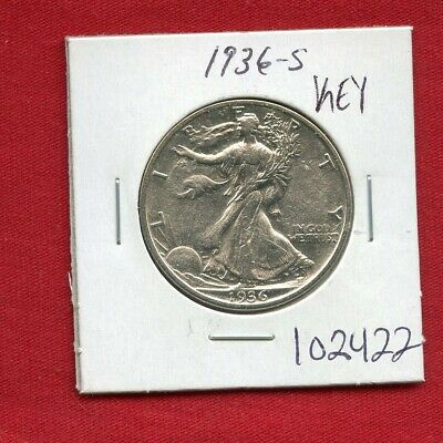 1936 S Walking Liberty Silver Half Dollar #102422 High Grade Us Mint Rare Estate