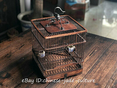 """13"""" Old Chinese Antique Huanghuali Wood Bronze Handwork Noble Classical Birdcage"""