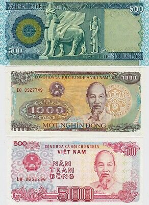 Iraqi Iraq Dinar 500 plus 1000 & 500 Vietnam Dong Uncirculated Banknote Set, UNC