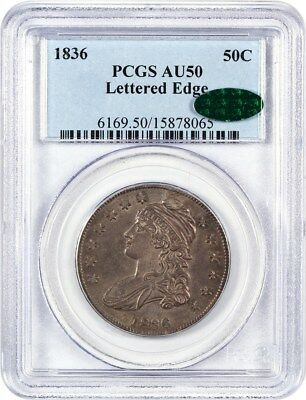 1836 50c PCGS/CAC AU50 (Lettered Edge) Nice and Original - Bust Half Dollar