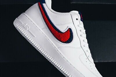 competitive price 08f50 f4288 Nike Air Force 1 07 Low 3D Chenille Swoosh White Red Blue UK 11.5 EU 47