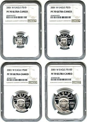 2001-W Platinum Eagle Set NGC PR 70 UCAM (4 Coins) - Statue Liberty 1/4 oz