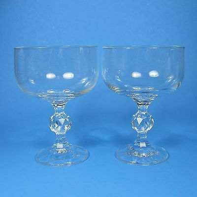 Bohemia Crystal CLAUDIA Sherbet Champagne Glasses Set of 2 Clear Glass