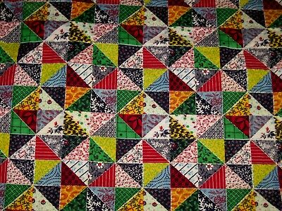"""VTG Patchwork/Pinwheel Baby Quilt Hand Sewn/Quilted 34"""" X 43""""!"""