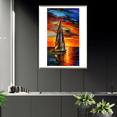 Canvas Poster Wall Print Home Living Room Decor Sailing Oil Painting Landscape