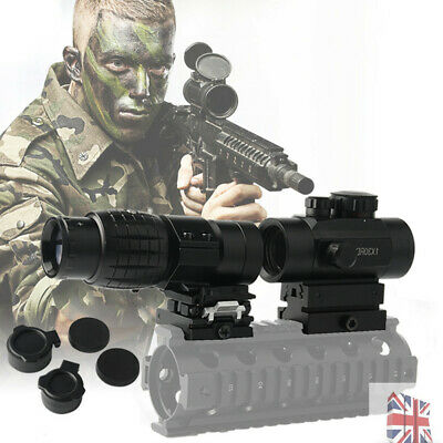 Hunting 3X Magnifier Scope Sight w/1x30 Red Green Dot Sight&5 Slots Weaver Mount