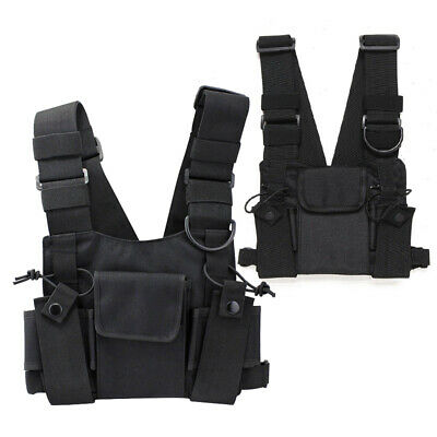 Pouch Chest Harness Bag Vest Rig Nylon Black Universal Adjustable Strap Outdoor