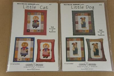Country Appliques Storybook Animals Little Cat & Little Dog for quilts etc