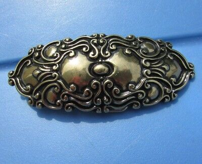 Belt Buckle Art Nouveau Etched Swirls Scroll Style Gorgeous Large Vintage