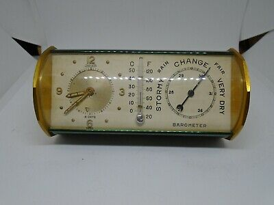 Antique Jaeger Desk Alarm Clock /thermometer /barometer