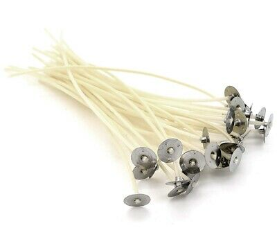 30 x 150mm-15cm Pre Waxed Wicks For candle making with sustainers. Brand New