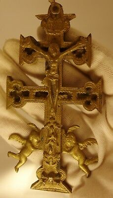 2027  ANTIQUE 14.5cm  BRONZE  CROSS RELIQUARY CARAVACA DE LA CRUZ CIRCA 1800