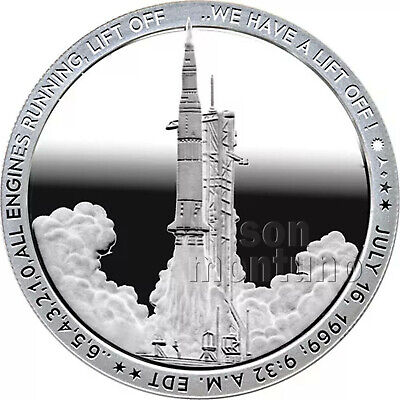 LIFTOFF - 2019 Apollo 11 50th Anniversary 1oz Silver Coin #1 WE HAVE A LIFT OFF